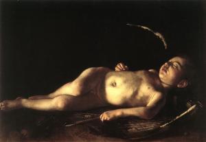 """""""Sleeping Cupid""""  Michelangelo Merisi Caravaggio  Circa 1608"""