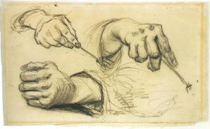 """Three Hands, Two Holding Forks""  By Vincent Van Gogh  Circa March-April 1885 http://www.vggallery.com/drawings/p_1161r.htm"