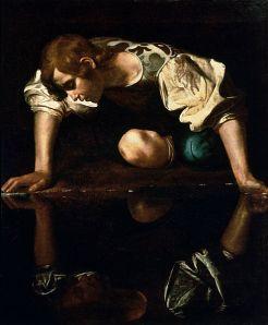 """Narcissus""  By Michelangelo Merisi Caravaggio  circa 1597-1599"