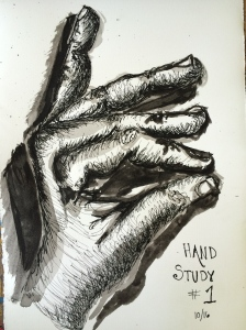 """Hand Study 1""  Pen and Ink"