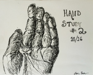 """Hand Study 2""  Pen and Ink"