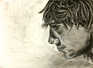 """Sam"" Vine/compressed/Pencil charcoal and Pastel on charcoal paper"