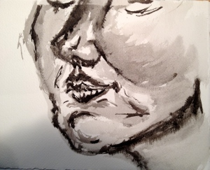 facial study Ink and water Watercolor paper