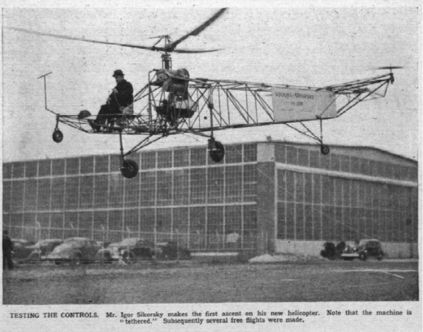 """World's First Helicopter."" Connecticut History. N.p., n.d. Web. 1 Feb. 2015. . Igor Sikorsky making his first ascent in the world first's successful helicopter on September 14th, 1939."