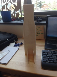 The stand standing (with paper still attached)