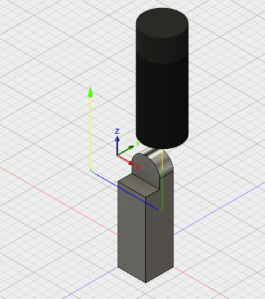 CAM tool path with simulated endmill (milling for just the notch)