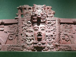 National Museum of Anthropology in Mexico City. Maya mask. Stucco frieze from Placeres, Campeche. Early Classic period (c. 250 - 600 AD. Joyce Kelly 2001 An Archaeological Guide to Central and Southern Mexico, p.105.