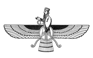 Depiction of a fravashi, the Zoroastrian equivalent of a guardian angel.