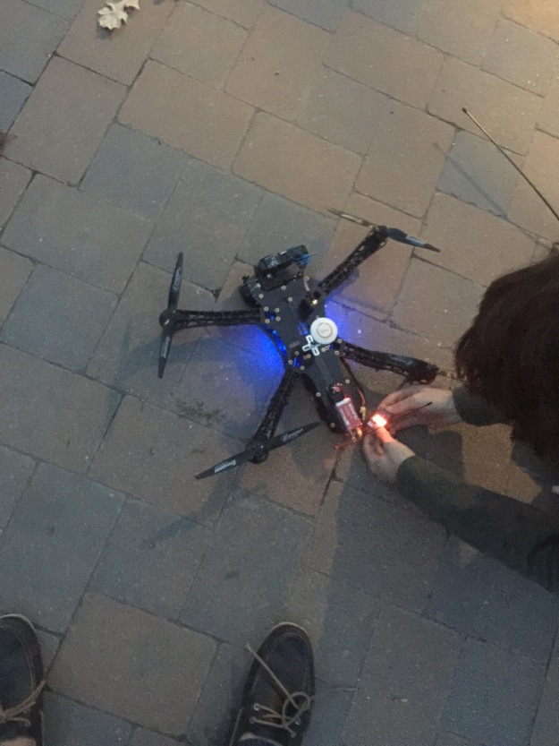 Jade Jeffords preforming a preflight check on my TBS Discovery Quadcopter