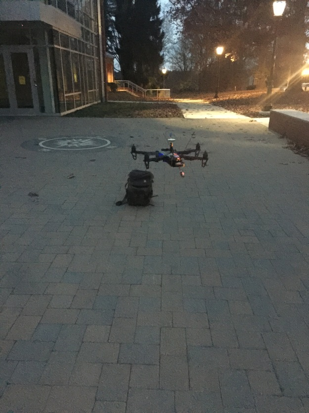 Preparing the Quad to do a night time flyover of Westtown's Main Building