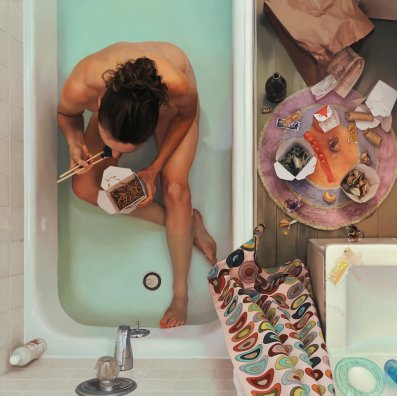 Self Portrait in Tub with Chinese Food by Lee Price